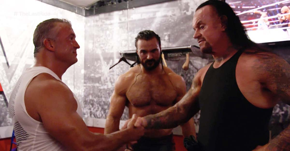 The Undertaker Shakes Shane McMahon Drew McIntyre Hands After WWE Extreme Rules 2019 Match Backstage