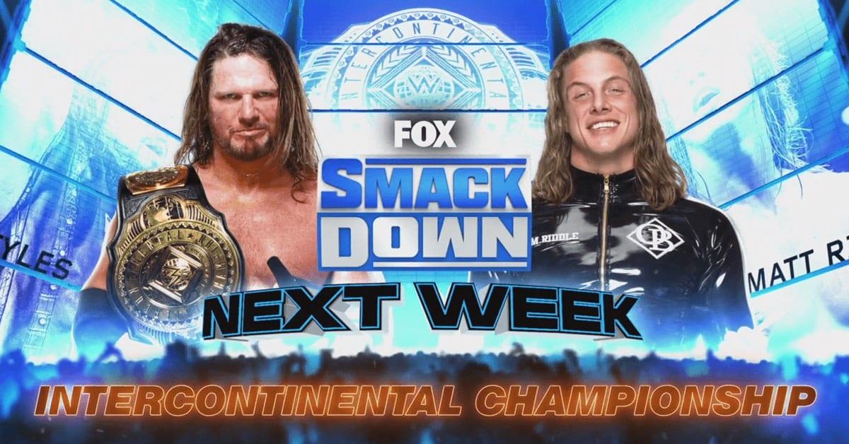 AJ Styles vs Matt Riddle - WWE Intercontinental Championship Match Graphic For SmackDown