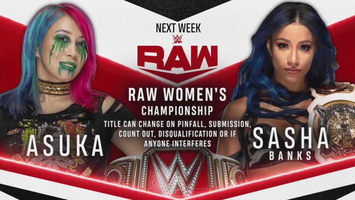 Asuka vs Sasha Banks WWE RAW Women's Championship Match Graphic July 2020