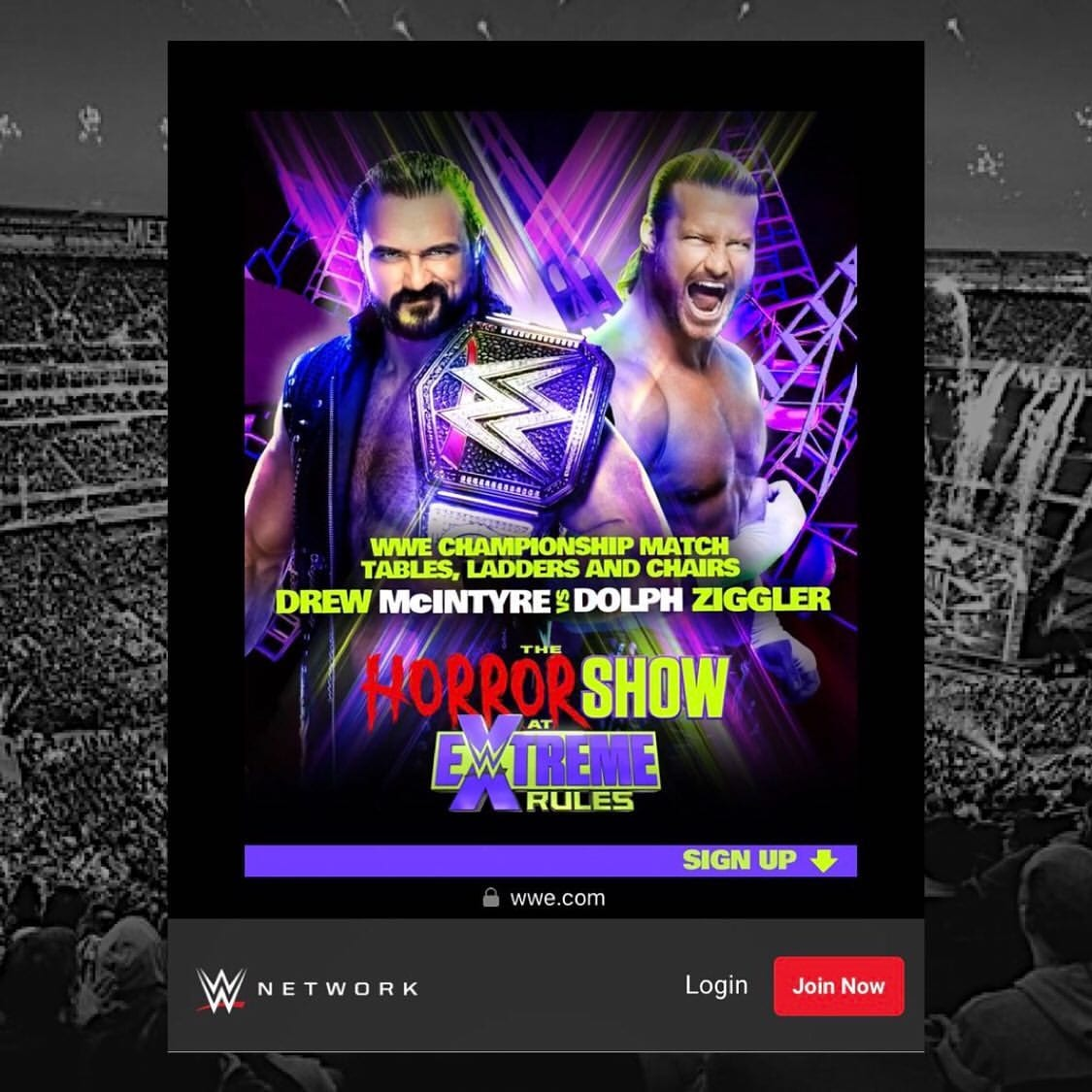 Drew McIntyre vs Dolph Ziggler TLC Match Advertisement For The Horror Show At WWE Extreme Rules 2020 Advertisement