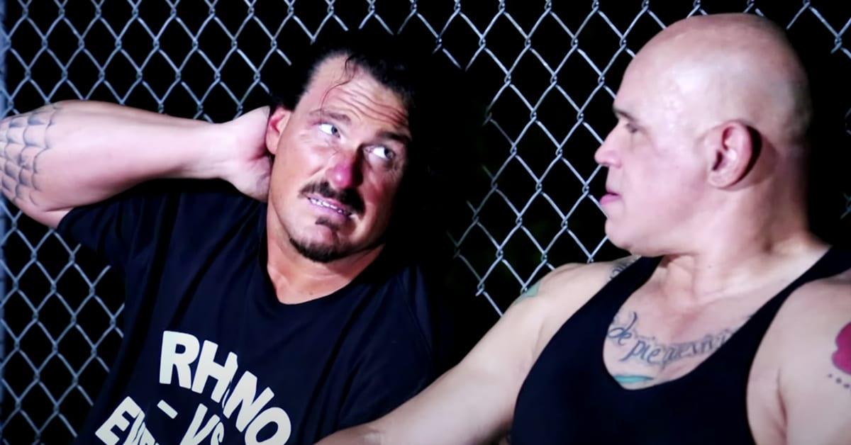 Rhyno vs Hernandez in a backlot brawl