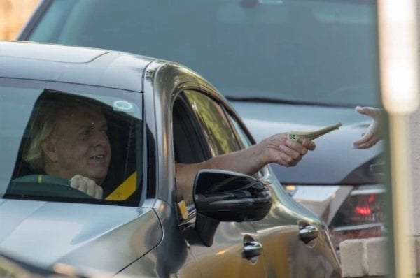 Ric Flair Without A Mask In A Car At Starbucks