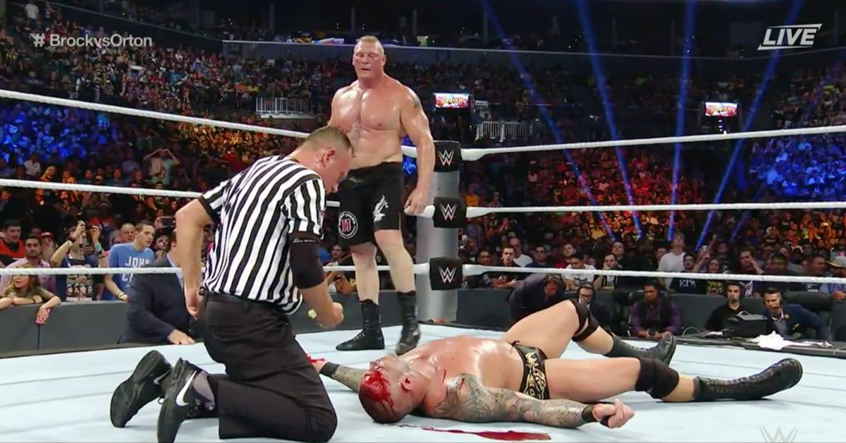 Brock Lesnar Busted Open Randy Orton WWE SummerSlam 2016