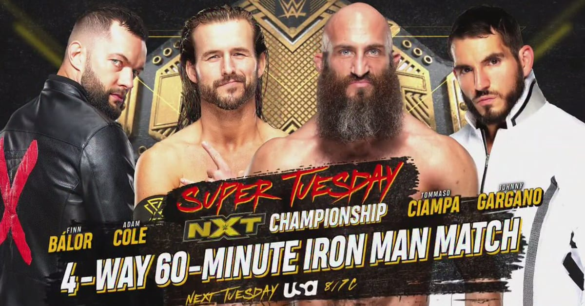 Finn Balor vs Adam Cole vs Tommaso Ciampa vs Johnny Gargano - Fatal 4 Way 60 Minute Iron Man Man For The Vacant NXT Championship On NXT Super Tuesday