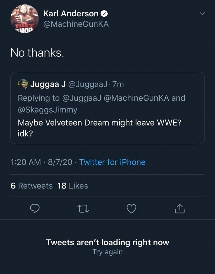 Karl Anderson doesn't want WWE NXT wrestler Velveteen Dream in Impact Wrestling