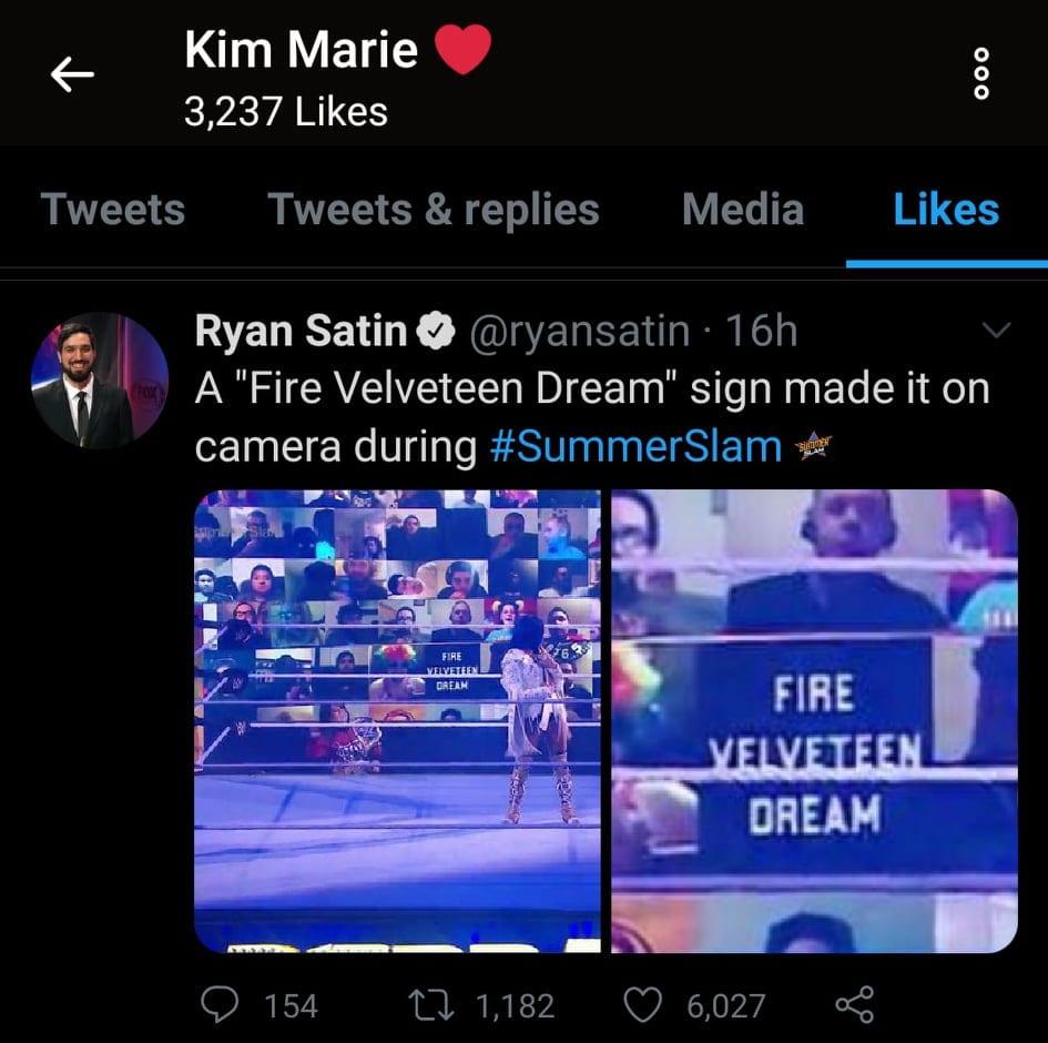 Kim Orton Likes Tweet For Fire Velveteen Dream