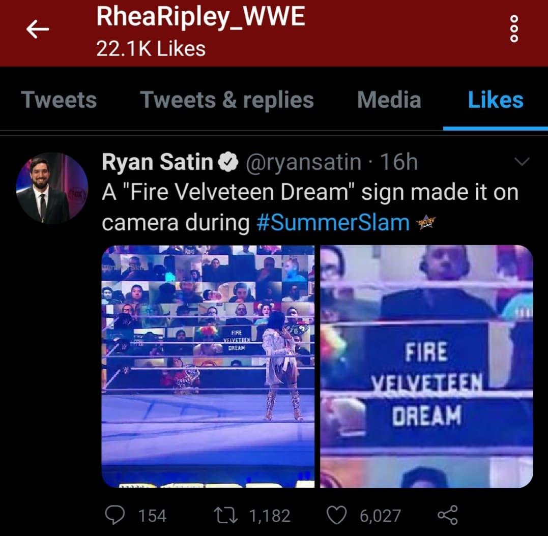 Rhea Ripley Likes Tweet For Fire Velveteen Dream