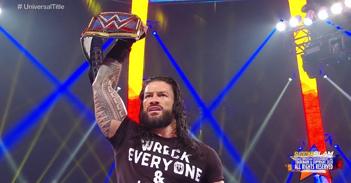 Roman Reigns Poses With The Universal Championship At WWE SummerSlam 2020