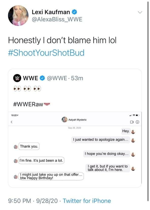 Alexa Bliss Reacts To Her Ex-Boyfriend Murphy Being Involved In A Romance Angle With Aalyah Mysterio