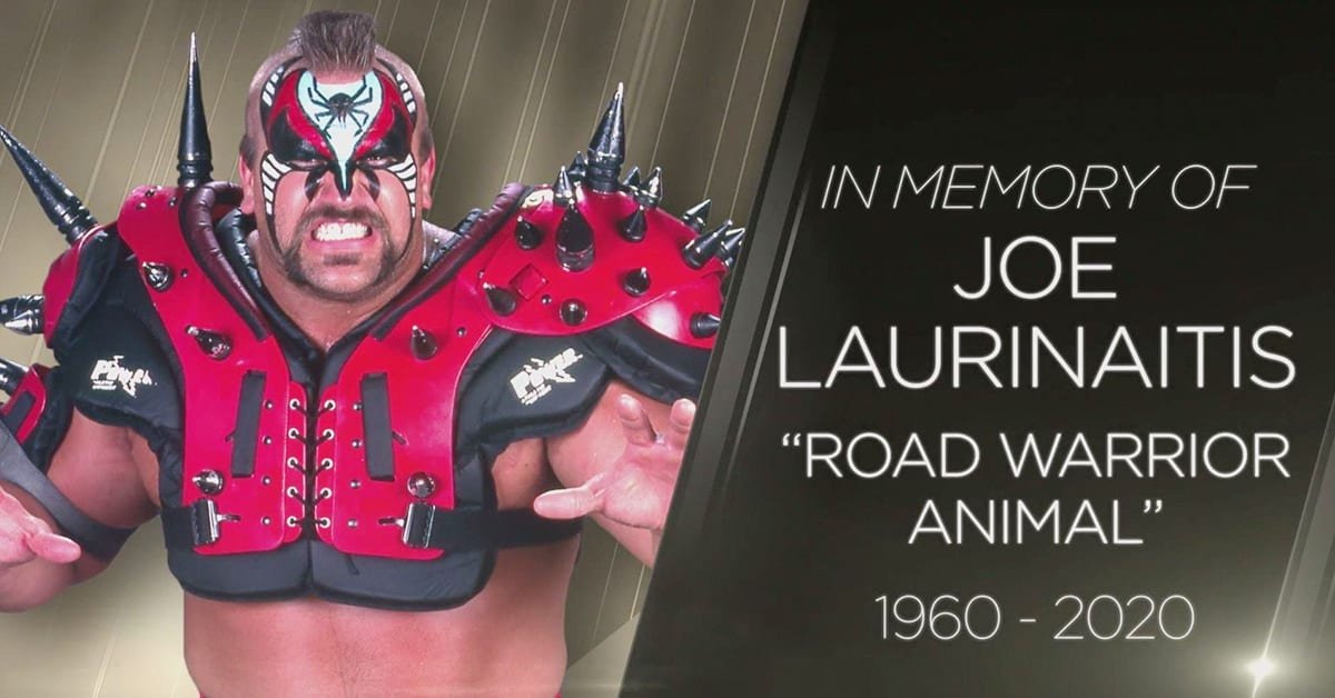 In Memory Of Joe Laurinaitis Road Warrior Animal Official WWE RIP Graphic
