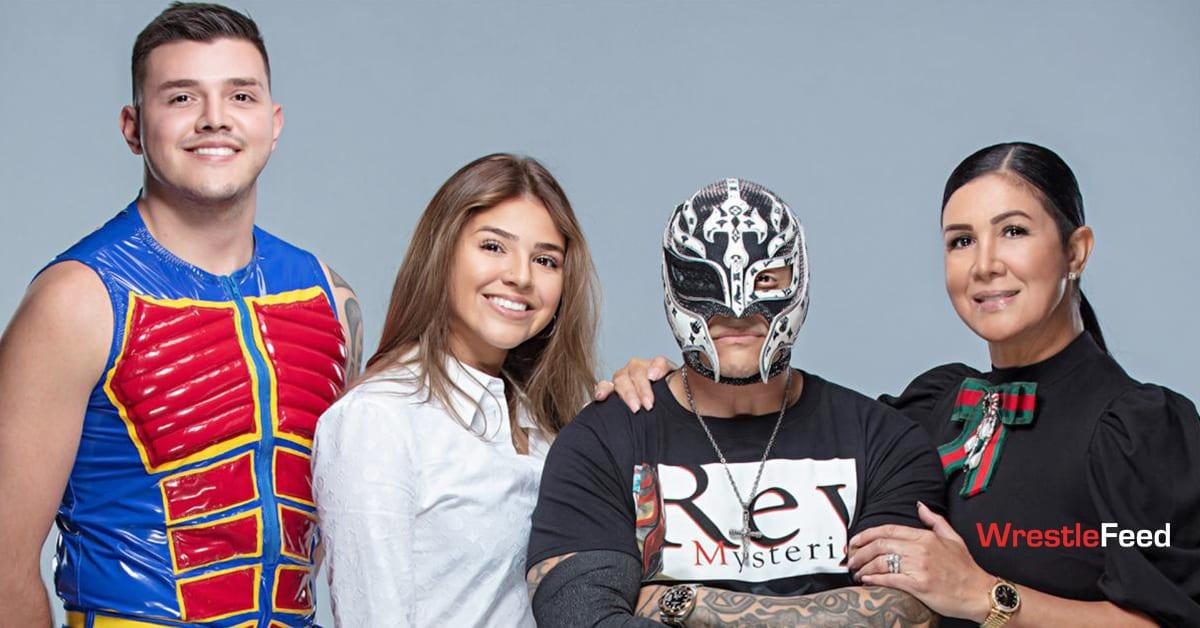 Mysterio Family Photoshoot - Dominik Mysterio Aalyah Mysterio Rey Mysterio Angie Mysterio