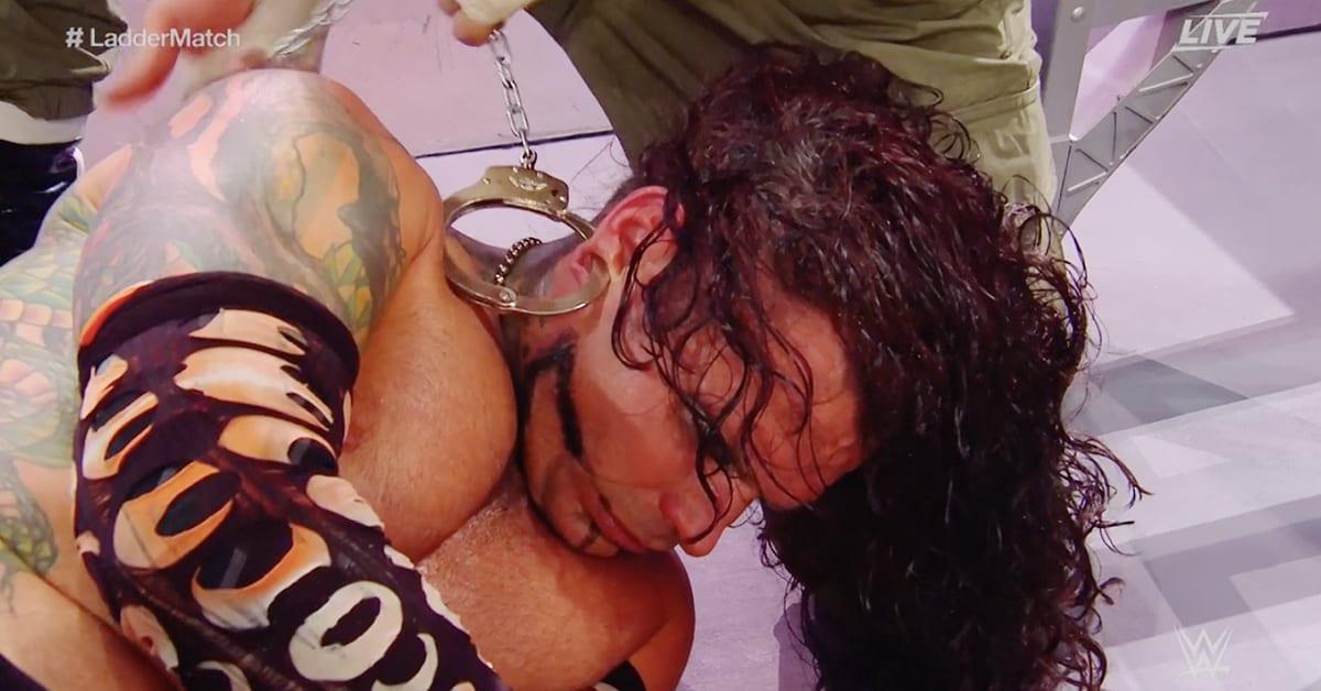 Sami Zayn Hand Cuffs In Jeff Hardy's Ear Lobe WWE Clash Of Champions 2020