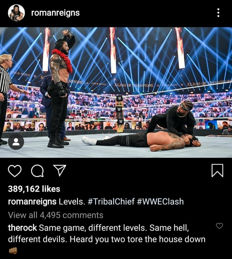 The Rock Reacts To Roman Reigns Destroying Jey Uso At Clash Of Champions 2020