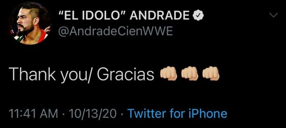 Andrade Thank You Gracias Deleted Tweet After WWE Draft 2020