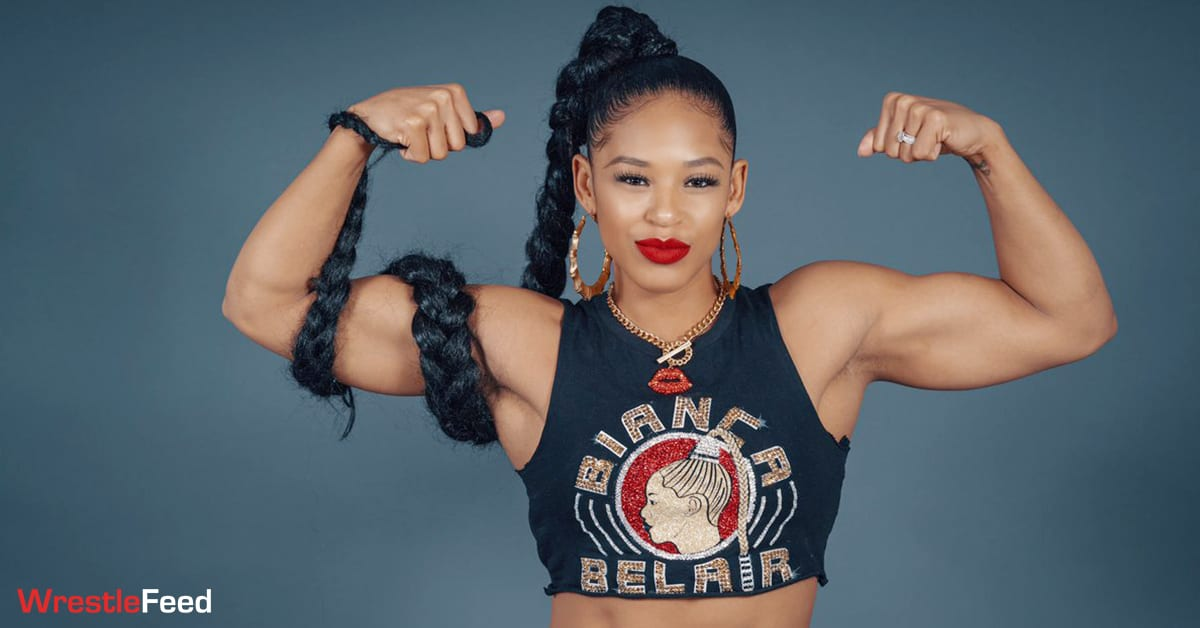 Bianca Belair Flexing Arms Muscles Biceps Triceps Physique