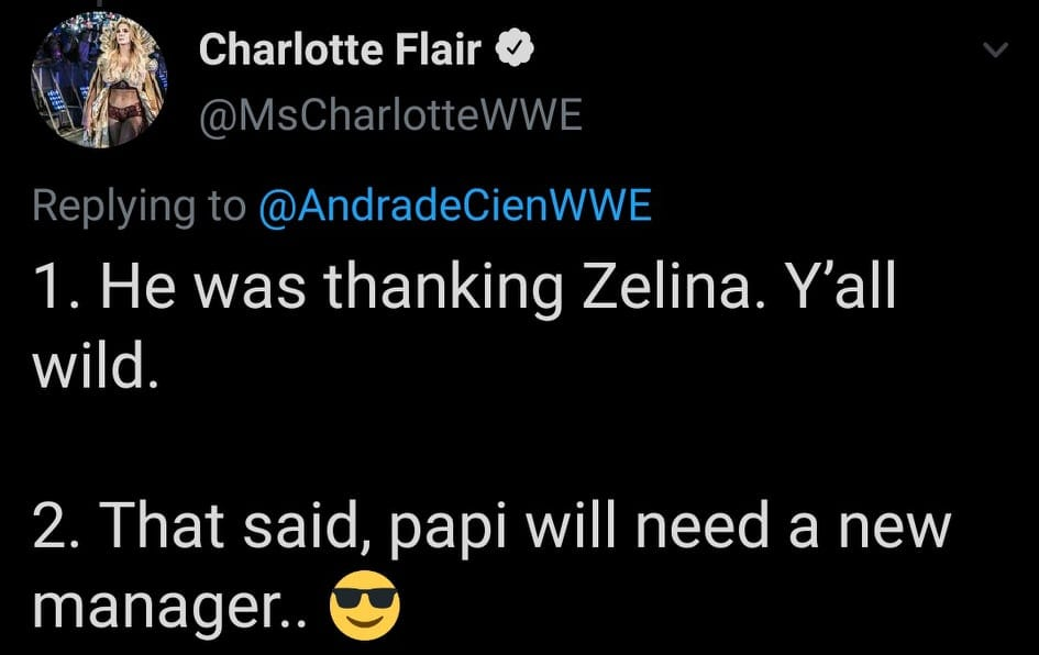 Charlotte Flair Clarifies Andrade's Thank You Gracias Deleted Tweet