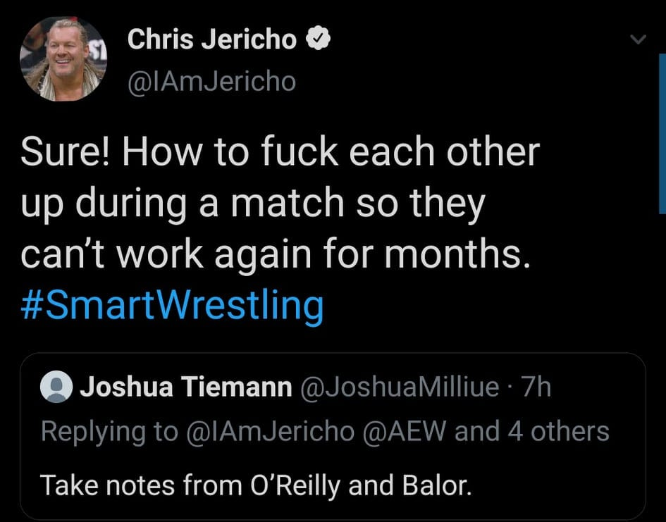 Chris Jericho Takes A Shot At Finn Balór vs. Kyle O' Reilly For Unsafe Wrestling