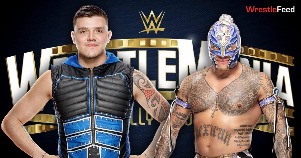 Dominik Mysterio vs Rey Mysterio WrestleMania 37 Match Graphic WrestleFeed App