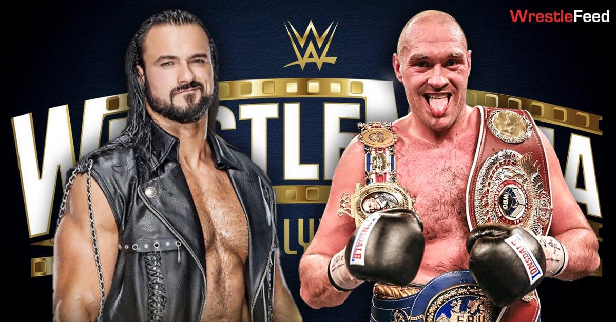 Drew McIntyre vs Tyson Fury WrestleMania 37 Match Graphic WrestleFeed App