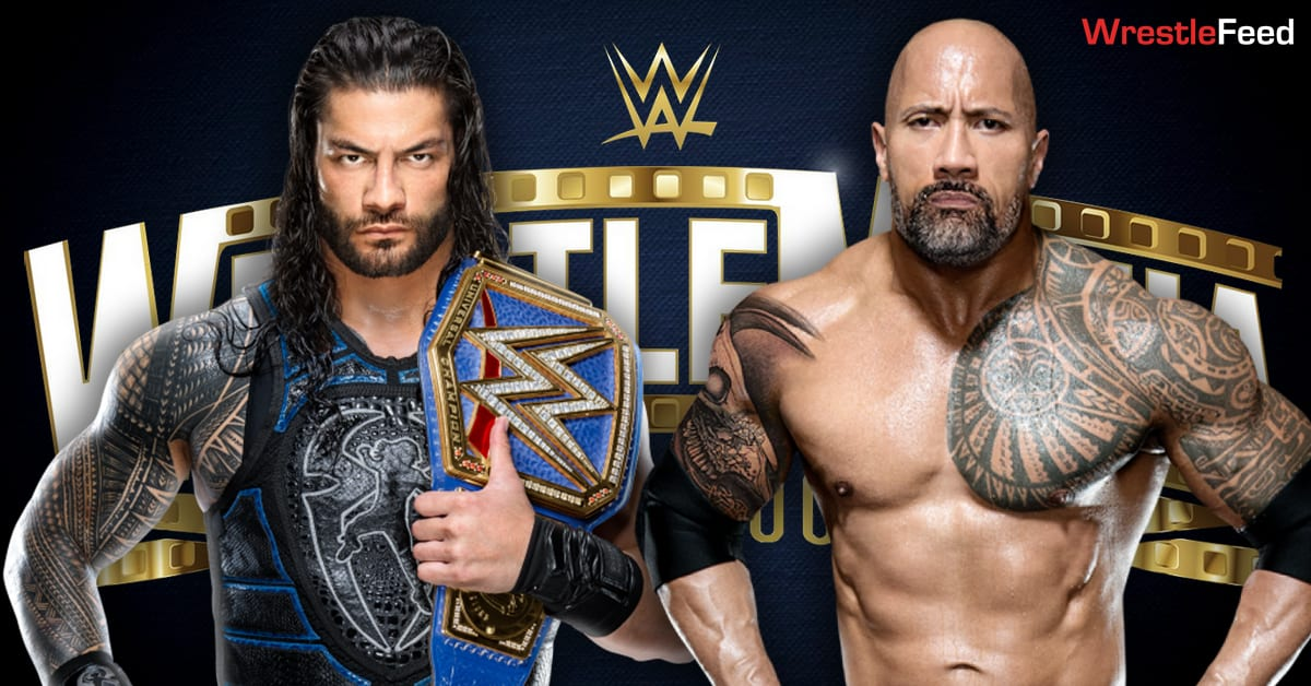Roman Reigns vs The Rock WWE Universal Championship Match Graphic WrestleFeed App