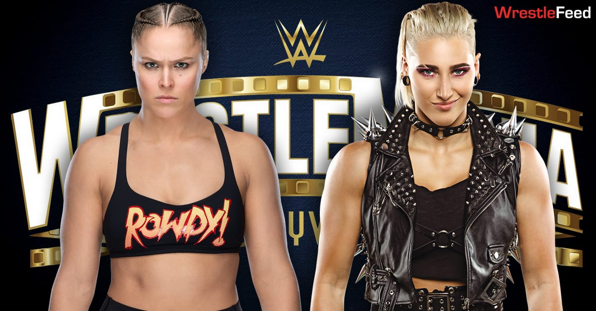 Ronda Rousey vs Rhea Ripley Match Graphic WrestleFeed App
