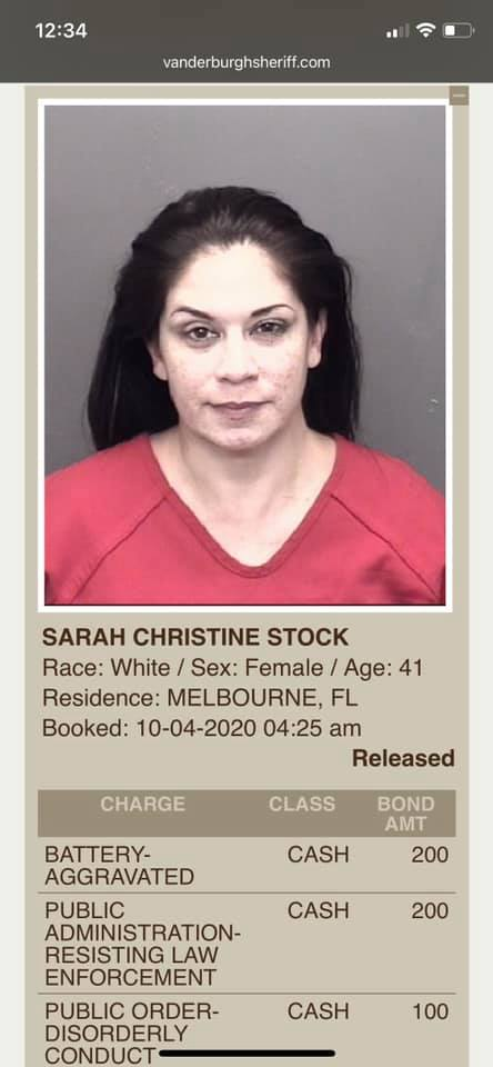 Sarah Stock Mugshot Arrested
