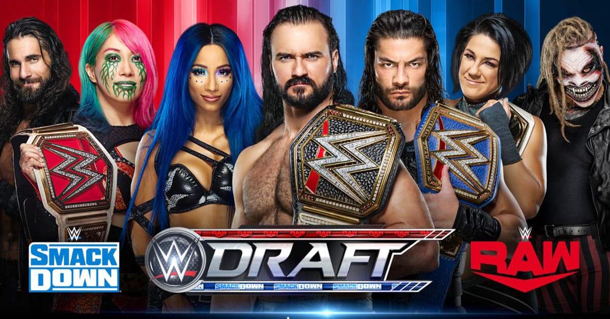 WWE Draft 2020 RAW SmackDown Graphic Seth Rollins Asuka Sasha Banks Drew McIntyre Roman Reigns Bayley The Fiend Bray Wyatt