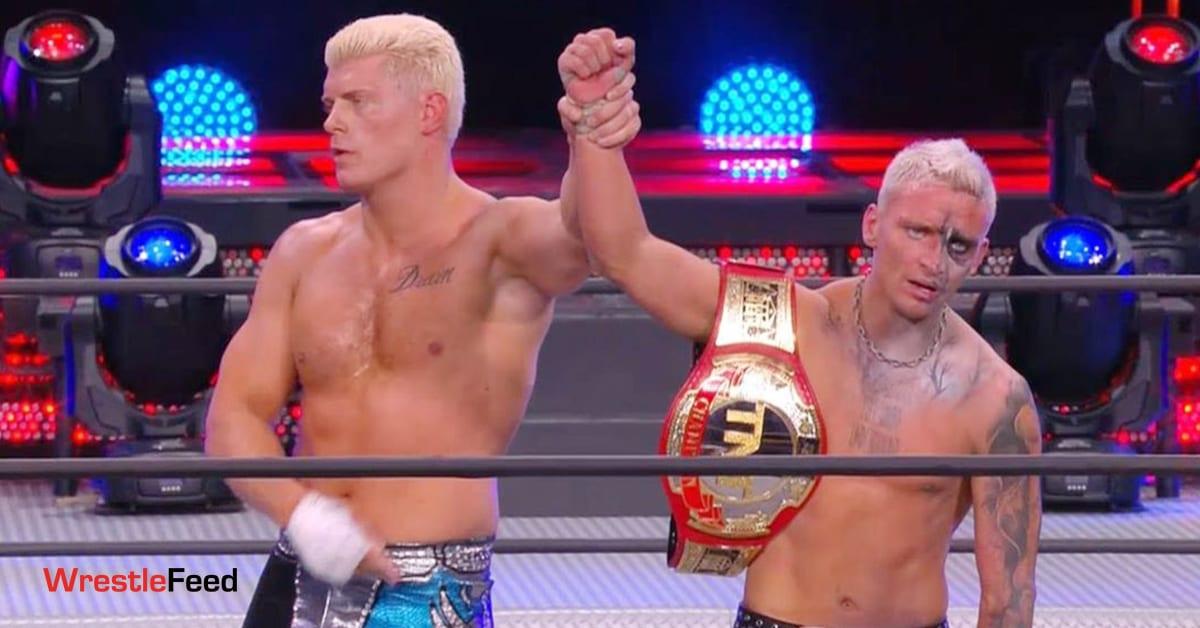 Darby Allin Wins TNT Championship Cody Rhodes Raises His Arm AEW Full Gear 2020