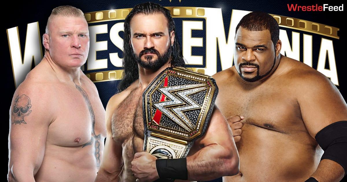 Drew McIntyre vs Brock Lesnar vs Keith Lee WWE Championship Triple Threat Match WrestleMania 37 WrestleFeed App