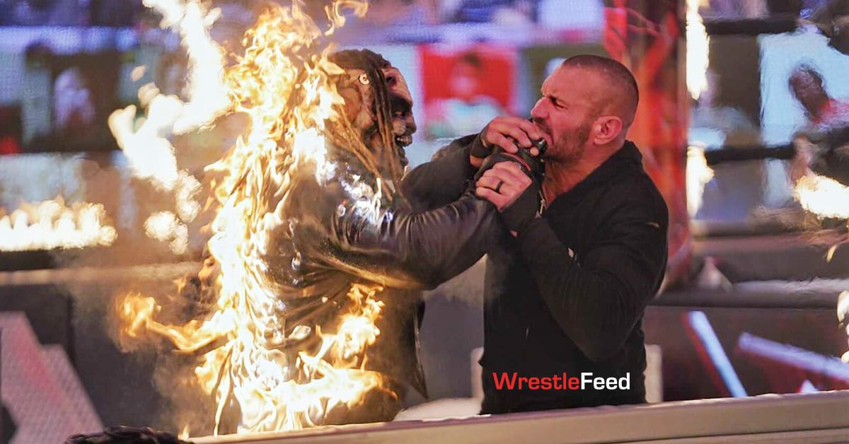 The Fiend Bray Wyatt Fighting Randy Orton While Being On Fire At WWE TLC 2020 WrestleFeed App