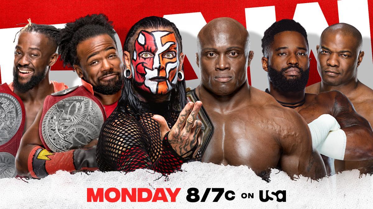 The New Day Kofi Kingston Xavier Woods Jeff Hardy vs The Hurt Business Bobby Lashley Cedric Alexander Shelton Benjamin WWE RAW