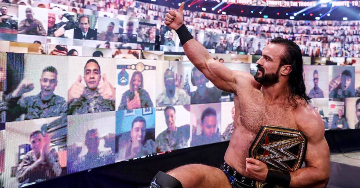 WWE Champion Drew McIntyre with virtual troops at WWE Tribute To The Troops 2020