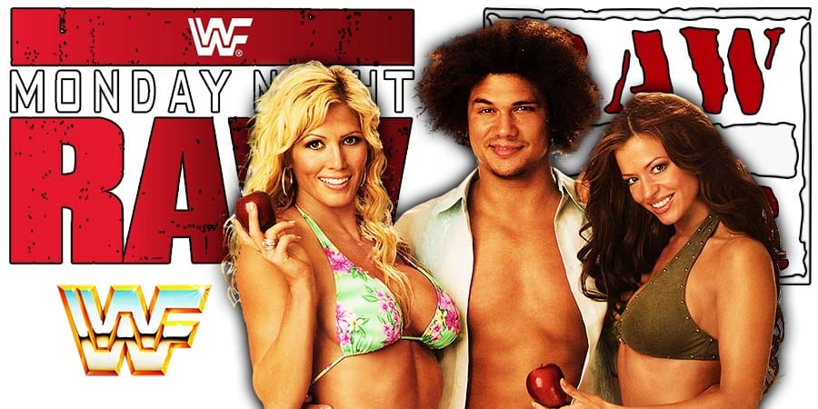 Carlito Caribbean Cool with Torrie Wilson & Candice Michelle RAW Article Pic 2