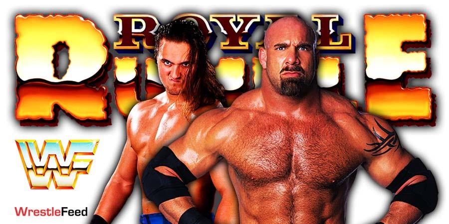 Drew McIntyre Goldberg Match Royal Rumble 2021 WrestleFeed App