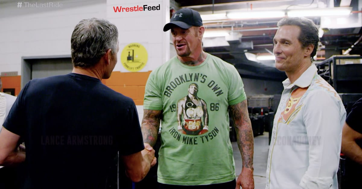 Lance Armstrong The Undertaker Matthew McConaughey Backstage In WWE The Last Ride Docuseries WrestleFeed App