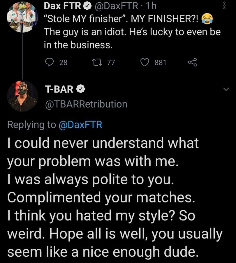 T-Bar Doesn't Understand Dax Harwood's Problem With Him