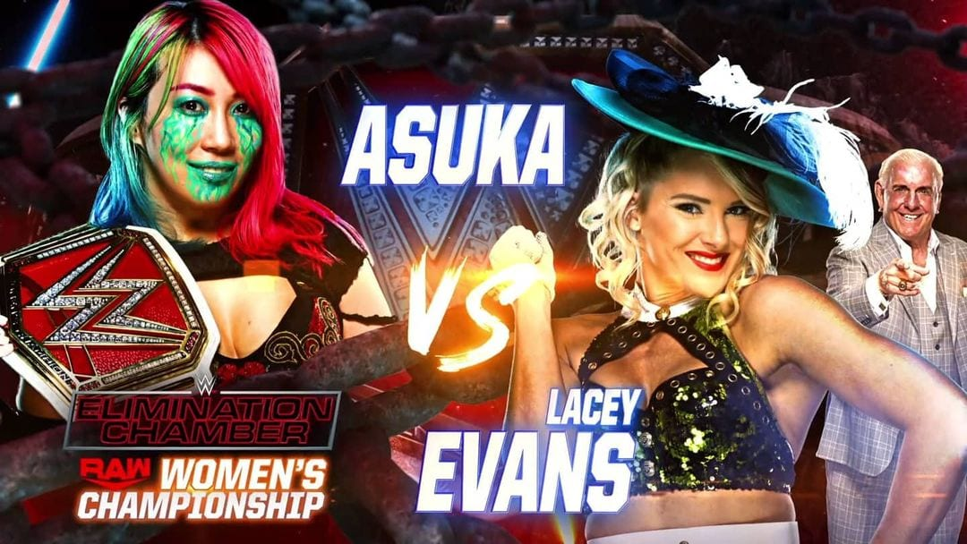 Asuka vs Lacey Evans - WWE Elimination Chamber 2021 Official Graphic (RAW Women's Championship)