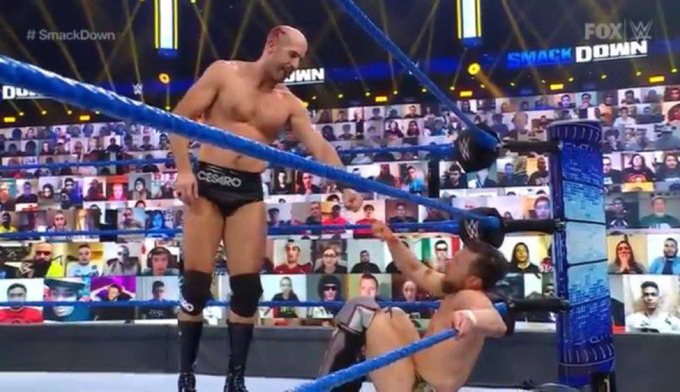 Cesaro Fist Bump Daniel Bryan Respect WWE SmackDown February 2021