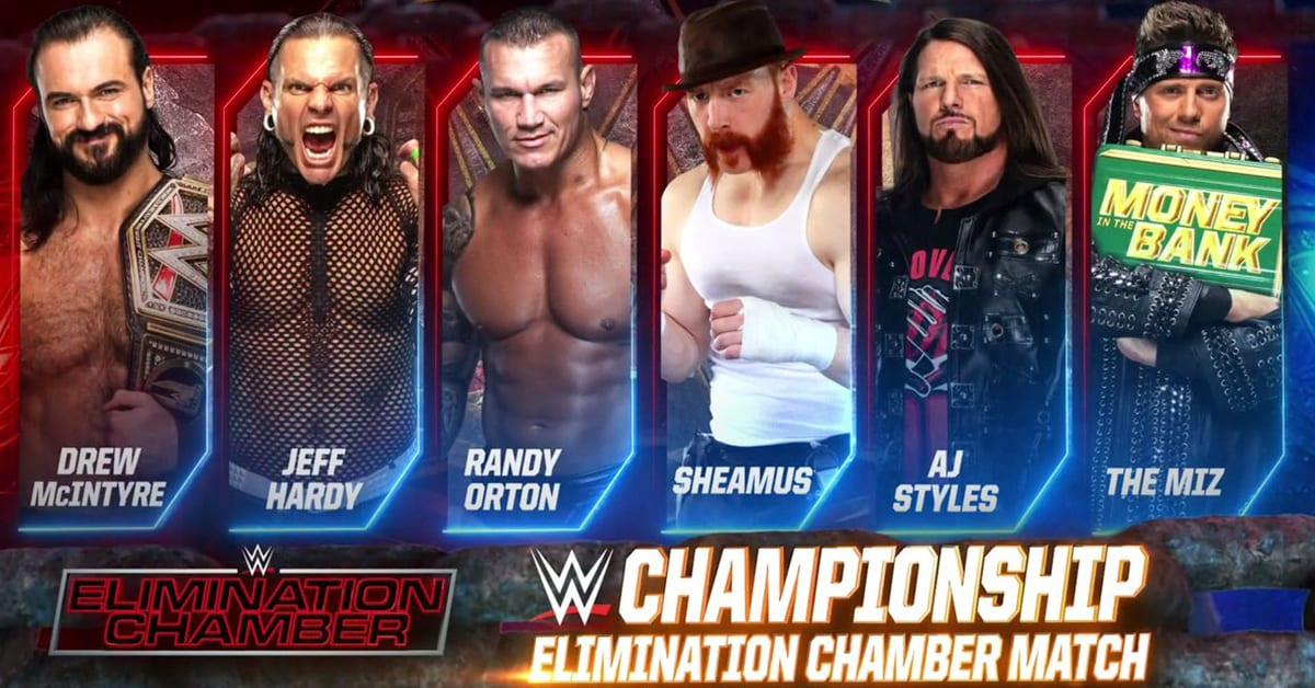 Drew McIntyre vs Jeff Hardy vs Randy Orton vs Sheamus vs AJ Styles vs The Miz - WWE Championship Match For Elimination Chamber 2021