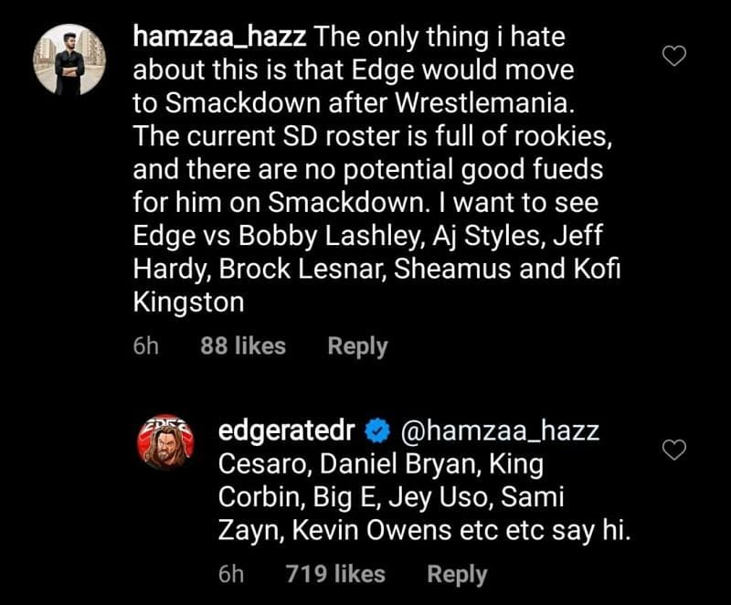 Edge Replies To A Fan Who Wants Him On RAW Instead Of SmackDown Because SmackDown Is Full Of Rookies