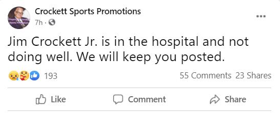 Jim Crockett Jr Hospitalized & Not Doing Well