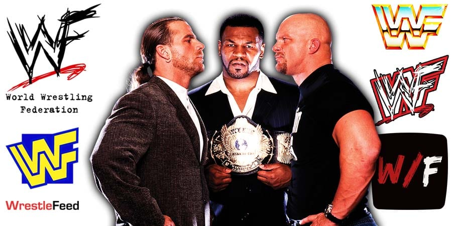 Mike Tyson with Stone Cold Steve Austin & Shawn Michaels WWF Article Pic 5 WrestleFeed App