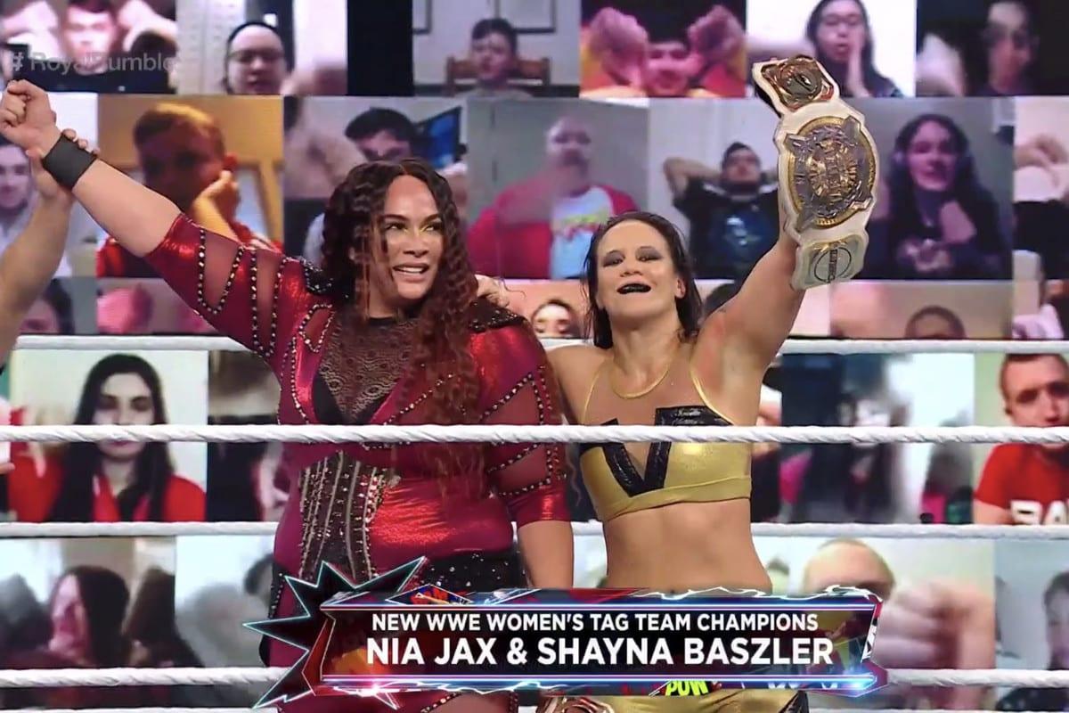 Nia Jax Shayna Baszler Win Back WWE Women's Tag Team Championship Royal Rumble 2021 Kickoff Show