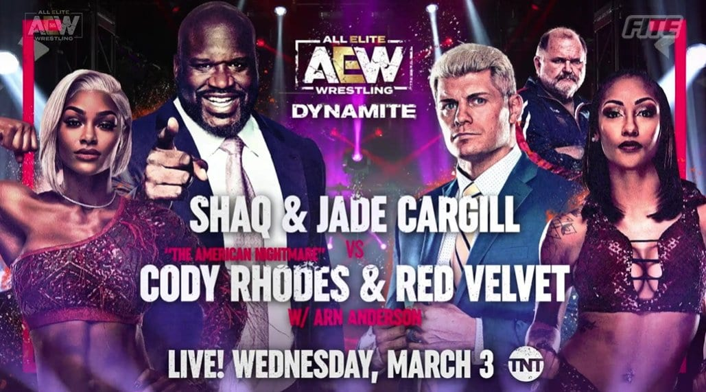 Shaq Shaquille O'Neal & Jade Cargill vs Cody Rhodes & Red Velvet - AEW Dynamite March 3 2021