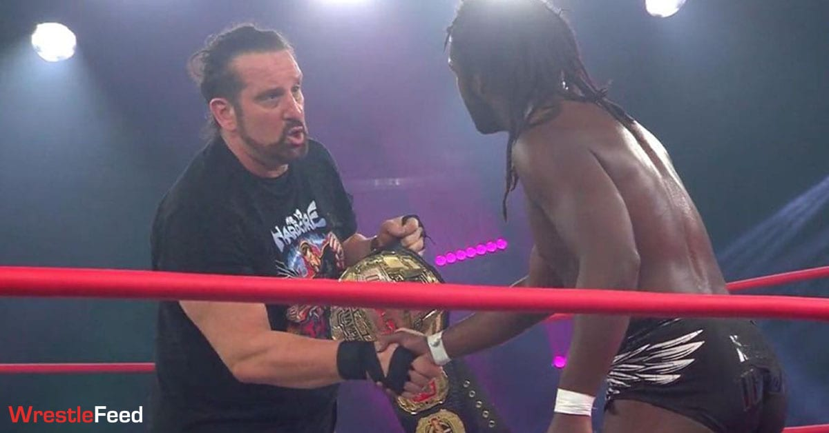 Tommy Dreamer with the Impact World Championship at No Surrender 2021 WrestleFeed App