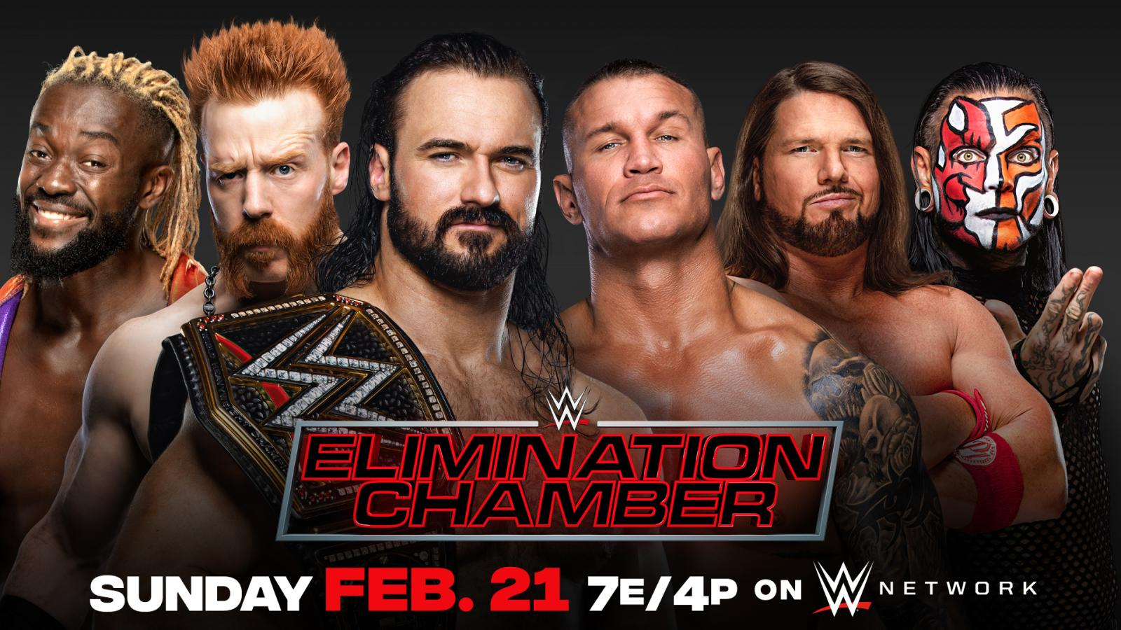 WWE Championship Elimination Chamber Match 2021 Kofi Kingston Sheamus Drew McIntyre Randy Orton AJ Styles Jeff Hardy