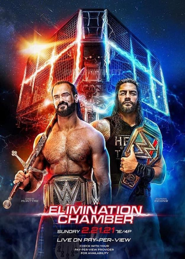WWE Elimination Chamber 2021 Official Poster Drew McIntyre Roman Reigns