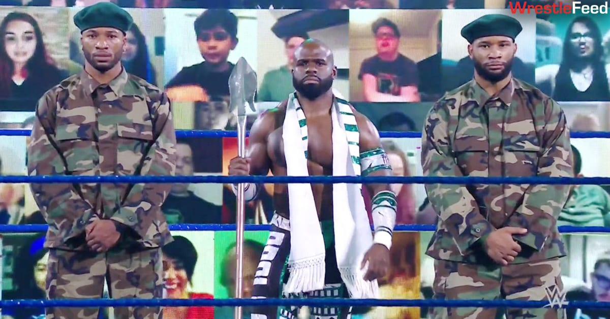 Apollo Crews with his Protective Force On SmackDown WrestleFeed App