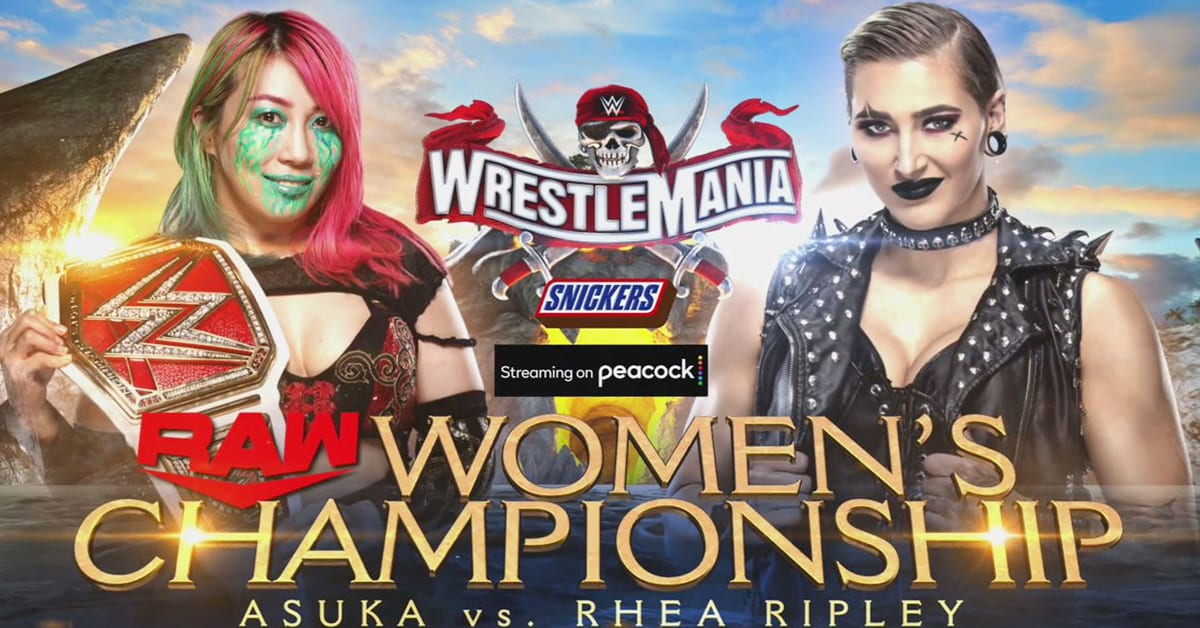 Asuka vs Rhea Ripley RAW Women's Championship Match WrestleMania 37 Official WWE Graphic