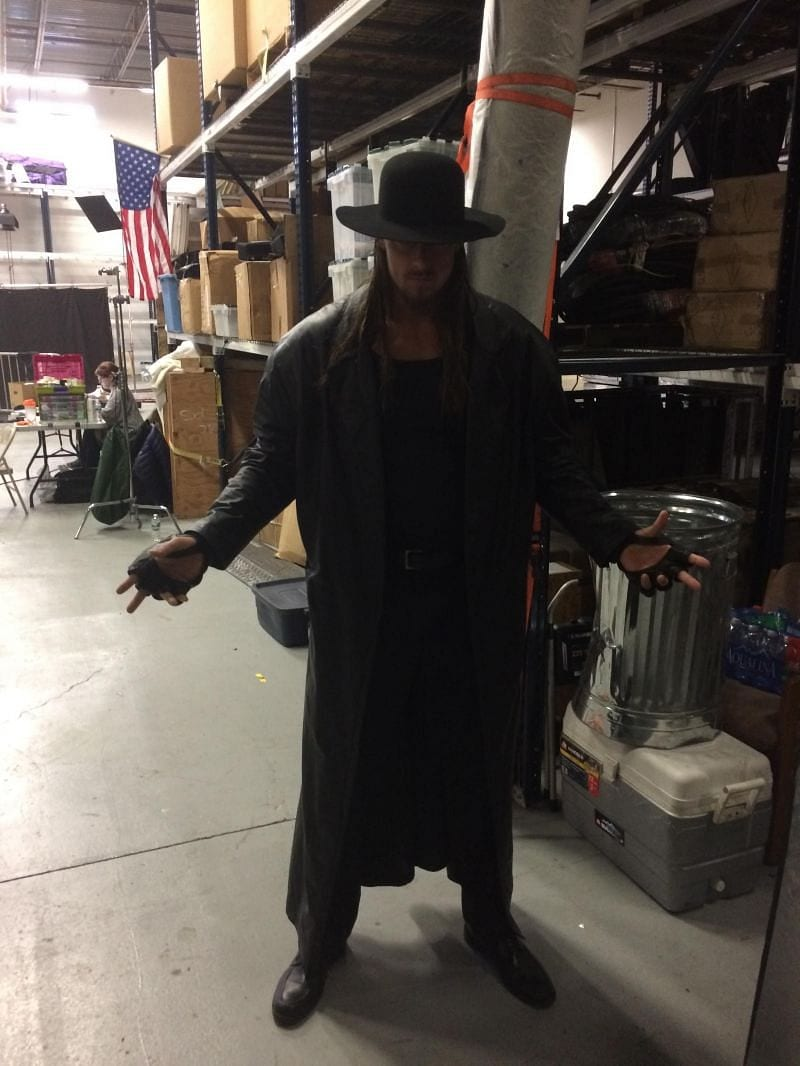 Big Cass as The Undertaker body double for WWE WrestleMania 32 intro video package